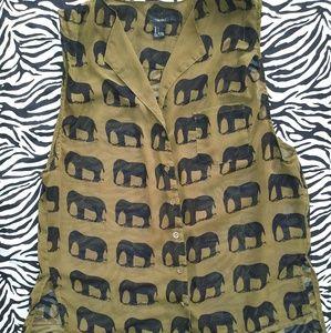 Women's button down elephant print collar blouse.